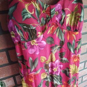 Vintage 1980s R&K Originals Tropical Maxi Dress